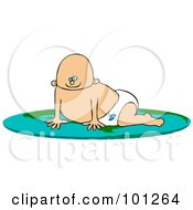 Royalty Free RF Clipart Illustration Of A Caucasian Baby Boy Crawling On A Flat Globe