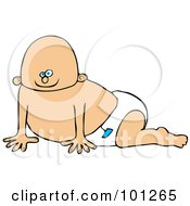 Royalty Free RF Clipart Illustration Of A Caucasian Baby Boy Crawling In A Diaper With A Blue Sticker