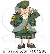 Royalty Free RF Clipart Illustration Of An Army Woman Saluting With One Hand