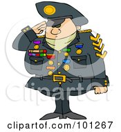 Royalty Free RF Clipart Illustration Of A Military Man Saluting And Wearing His Badges
