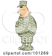 Royalty Free RF Clipart Illustration Of An Army Man In A Camouflage Uniform Hid Hands In His Pockets