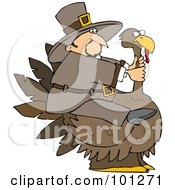 Royalty Free RF Clipart Illustration Of A Thanksgiving Pilgrim Trying To Ride A Huge Turkey by djart