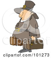Royalty Free RF Clipart Illustration Of A Thanksgiving Pilgrim Carrying Luggage