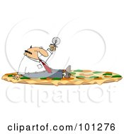 Royalty Free RF Clipart Illustration Of A Businessman Sitting On A Combo Pizza And Holding Up A Cutter
