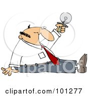 Royalty Free RF Clipart Illustration Of A Businessman Sitting On The Floor And Holding Up A Pizza Cutter
