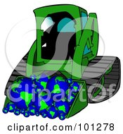 Royalty Free RF Clipart Illustration Of A Green Bobcat Tractor With A Load Of Globes by Dennis Cox