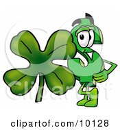 Dollar Sign Mascot Cartoon Character With A Green Four Leaf Clover On St Paddys Or St Patricks Day by Toons4Biz