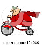 Royalty Free RF Clipart Illustration Of A Man In A Red Super Hero Suit Riding A Trike