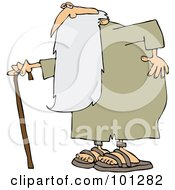 Royalty Free RF Clipart Illustration Of An Old Man Father Time Holding His Back And Walking With A Cane