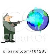 Worker Man Pressure Washing A Globe