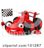 Royalty Free RF Clipart Illustration Of A 3d Red Formula One Race Car Facing Left And Waving A Racing Flag by Julos