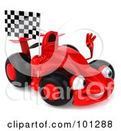 Royalty Free RF Clipart Illustration Of A 3d Red Formula One Race Car Facing Right And Waving A Racing Flag by Julos