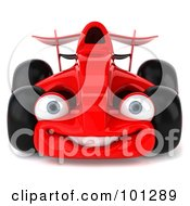 Royalty Free RF Clipart Illustration Of A 3d Red Formula One Race Car Facing Front by Julos