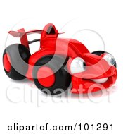 Royalty Free RF Clipart Illustration Of A 3d Red Formula One Race Car Facing Right by Julos