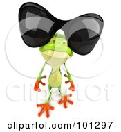 Royalty Free RF Clipart Illustration Of A 3d Argie Frog Looking Up And Wearing Shades by Julos