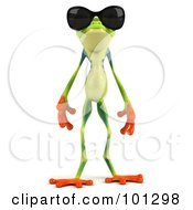 Royalty Free RF Clipart Illustration Of A 3d Argie Frog Facing Front And Wearing Shades