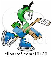 Clipart Picture Of A Dollar Sign Mascot Cartoon Character Playing Ice Hockey by Toons4Biz