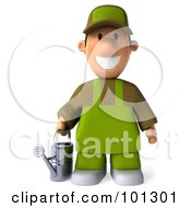 Royalty Free RF Clipart Illustration Of A 3d Gardener Toon Guy Facing Front And Holding A Watering Can