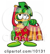 Dollar Sign Mascot Cartoon Character In Orange And Red Snorkel Gear by Toons4Biz