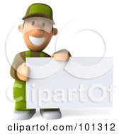 3d Gardener Toon Guy Smiling And Holding A Blank Business Card