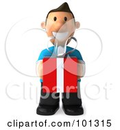 Royalty Free RF Clipart Illustration Of A 3d Casual Man Holding A Red Present