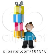 Royalty Free RF Clipart Illustration Of A 3d Casual Man Carrying A Tower Of Gifts
