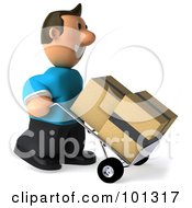 Royalty Free RF Clipart Illustration Of A 3d Casual Man Moving Boxes On A Dolly
