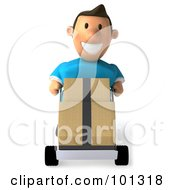 Royalty Free RF Clipart Illustration Of A 3d Casual Man Pushing Boxes On A Dolly