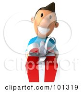 Royalty Free RF Clipart Illustration Of A 3d Casual Man Holding A Red Gift by Julos