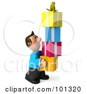 Royalty Free RF Clipart Illustration Of A 3d Casual Man Carrying A Tower Of Presents
