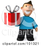 Royalty Free RF Clipart Illustration Of A 3d Casual Man Holding A Red Gift Box