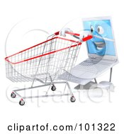 3d White Laptop Character Facing Left And Pushing A Shopping Cart