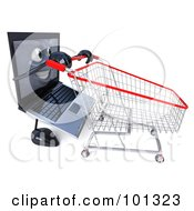 3d Black Laptop Character Facing Right And Pushing A Shopping Cart