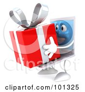 3d White Laptop Character Facing Left And Holding A Gift