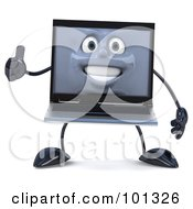 3d White Laptop Character Facing Front With A Thumb Up