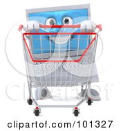 3d White Laptop Character Facing Front And Pushing A Shopping Cart