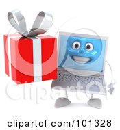 3d White Laptop Character Facing Front And Holding A Gift