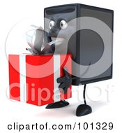 Royalty Free RF Clipart Illustration Of A 3d Computer Tower Character Facing Left And Holding A Present
