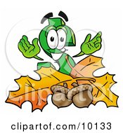 Clipart Picture Of A Dollar Sign Mascot Cartoon Character With Autumn Leaves And Acorns In The Fall by Toons4Biz