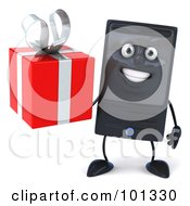 3d Computer Tower Character Facing Front And Holding A Present