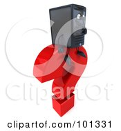 Royalty Free RF Clipart Illustration Of A 3d Computer Tower Character Facing Right And Sitting On A Question Mark