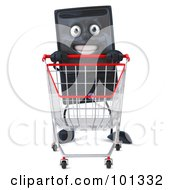 3d Computer Tower Character Facing Front And Pushing A Shopping Cart