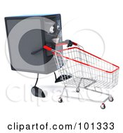 3d Computer Tower Character Facing Right And Pushing A Shopping Cart