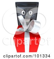 3d Computer Tower Character Facing Front And Giving A Present