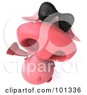 Royalty Free RF Clipart Illustration Of A 3d Pookie Pig Character Looking Up Waving And Wearing Shades