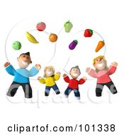 Royalty Free RF Clipart Illustration Of A 3d Happy Caucasian Family Jumping Under Floating Produce by Julos