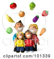 3d Happy Caucasian Family Looking Up At Floating Produce