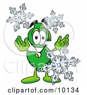 Dollar Sign Mascot Cartoon Character With Three Snowflakes In Winter by Toons4Biz