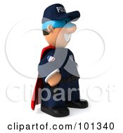 3d Police Toon Guy Super Hero Facing Right And Smiling