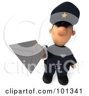 3d Police Toon Guy Holding An Envelope